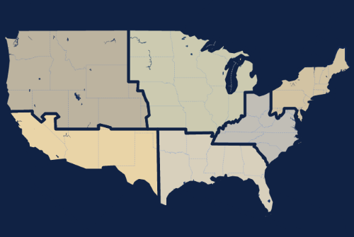 Image Map Showing Regions of where you can book a band.